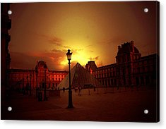 Dusk At The Louvre Acrylic Print by Carrie OBrien Sibley