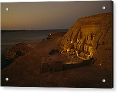 Dusk Descends On Abu Simbel With Lake Acrylic Print by O. Louis Mazzatenta