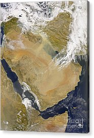 Dust And Smoke Over Iraq And The Middle Acrylic Print by Stocktrek Images