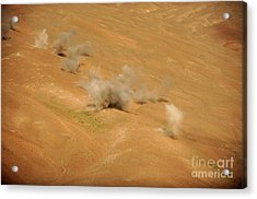 Dust Rises From The Impact Points Of Kp Acrylic Print by Stocktrek Images