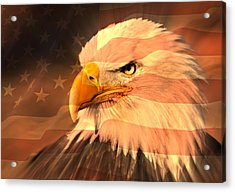 Eagle On Flag Acrylic Print by Marty Koch