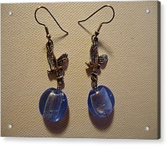 Eagle Soars Blue Sky Earrings Acrylic Print by Jenna Green