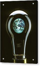 Earth In Light Bulb  Acrylic Print by Garry Gay