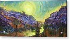 Earth Light Series Wolf Butte Sun Acrylic Print by Len Sodenkamp