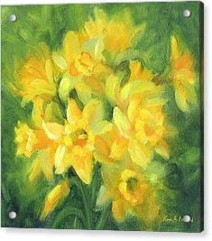 Easter Daffodils Acrylic Print by Karin  Leonard