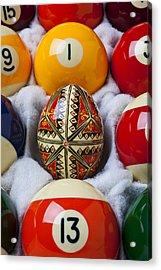 Easter Egg Among Pool Balls Acrylic Print by Garry Gay