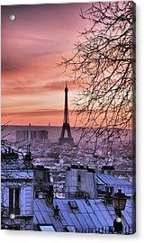 Eiffel Tower At Sunset Acrylic Print by Romain Villa Photographe