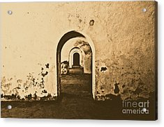El Morro Fort Barracks Arched Doorways San Juan Puerto Rico Prints Rustic Acrylic Print by Shawn O'Brien