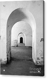 El Morro Fort Barracks Arched Doorways Vertical San Juan Puerto Rico Prints Black And White Acrylic Print by Shawn O'Brien