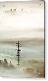 Electricity Pylon In Fog Acrylic Print by Duncan Shaw