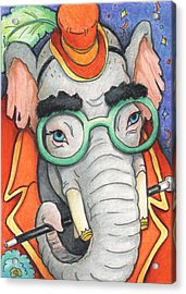 Elephant In Glasses Acrylic Print by Amy S Turner