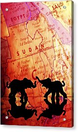 Elephant Silhouettes In Front Of A Map Acrylic Print by Chris Knorr