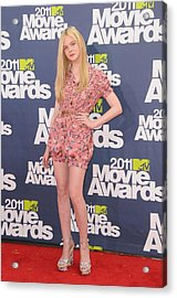 Elle Fanning Wearing A D&g Outfit Acrylic Print by Everett