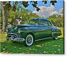 Emerald Oldsmobile Under The Magnolias Acrylic Print by Mike  Capone