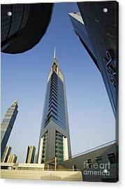 Emirates Tower At Sunrise Acrylic Print by Jeremy Woodhouse