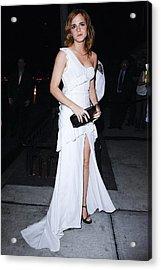 Emma Watson Wearing A White Acrylic Print by Everett
