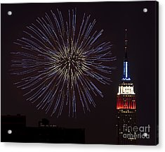 Empire State Fireworks Acrylic Print by Susan Candelario