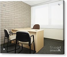 Empty Desk In An Office Acrylic Print by Skip Nall