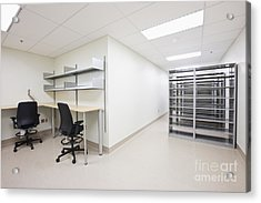 Empty Metal Shelves And Workstations Acrylic Print by Jetta Productions, Inc
