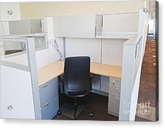 Empty Office Cubicle Acrylic Print by Jetta Productions, Inc