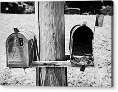empty old used american private mailboxes one with birdsnest in Lynchburg tennessee usa Acrylic Print by Joe Fox