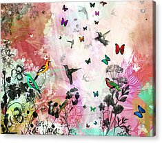 Enchanting Birds And Butterflies Acrylic Print by Carly Ralph