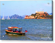 Enjoying The San Francisco Bay With Alcatraz Island In The Distance . 7d14323 Acrylic Print by Wingsdomain Art and Photography