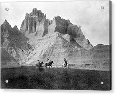 Entering The Badlands, Three Sioux Acrylic Print by Everett