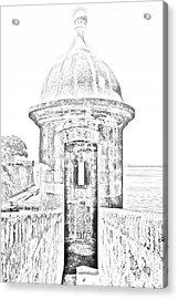 Entrance To Sentry Tower Castillo San Felipe Del Morro Fortress San Juan Puerto Rico Bw Line Art Acrylic Print by Shawn O'Brien