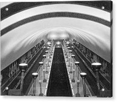 Escalators In A Tube Station Acrylic Print by Maynard Owen Williams