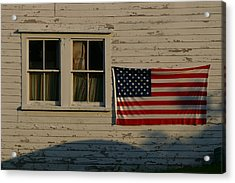 Evening Light On An American Flag Acrylic Print by Stephen St. John