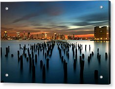 Evening Sky Over The Hudson River Acrylic Print by Larry Marshall