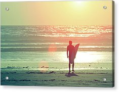 Evening Surfer Acrylic Print by Paul McGee