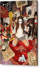 Evil Schoolgril - On Her Knees Acrylic Print by Liezel Rubin