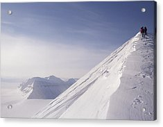 Expedition Skiers Climb Nemtinov Peak Acrylic Print by Gordon Wiltsie