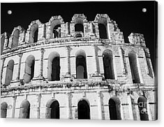 External View Of Three Upper Tiers Of Archways Of Old Roman Colloseum El Jem Tunisia Acrylic Print by Joe Fox