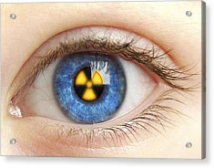 Eye With Radiation Warning Sign Acrylic Print by Pasieka