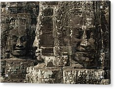 Faces Of Banyon Angkor Wat Cambodia Acrylic Print by Bob Christopher