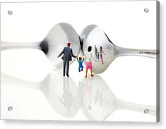 Family In Front Of Spoon Distoring Mirrors II Acrylic Print by Paul Ge