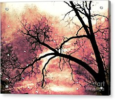 Fantasy Surreal Gothic Orange Black Tree Limbs  Acrylic Print by Kathy Fornal