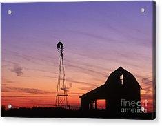 Farm At Sunset Acrylic Print by David Davis and Photo Researchers