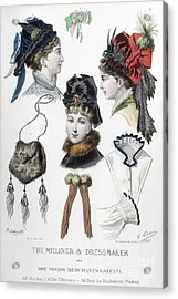 Fashion: Hats, C1875 Acrylic Print by Granger