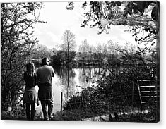 Father And Daughter - River Dee Chester Acrylic Print by Georgia Fowler