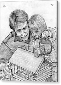 Father And Daughter Pencil Portrait Acrylic Print by Rom Galicia