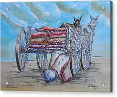 Feed Wagon Watercolor Acrylic Print by Charles Sims and Warren Thompson