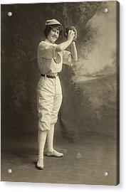 Female Baseball Player Acrylic Print by Granger