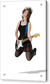 Female Guitarist Jumps  Acrylic Print by Ilan Rosen