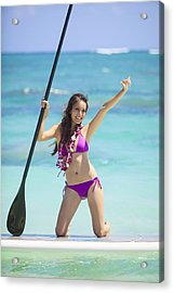 Female Stand Up Paddler Acrylic Print by Tomas del Amo