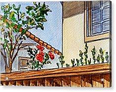Fence And Roses Sketchbook Project Down My Street Acrylic Print by Irina Sztukowski