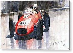 Ferrari Dino 246 F1 Monaco Gp 1958 Wolfgang Von Trips Acrylic Print by Yuriy  Shevchuk